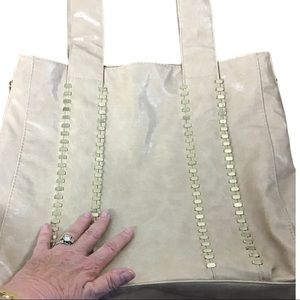 Braciano Tan Leather Gold Studded Front Large Tote